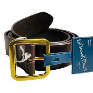 XL Brown Square Buckle Leather Pilgrim Belt